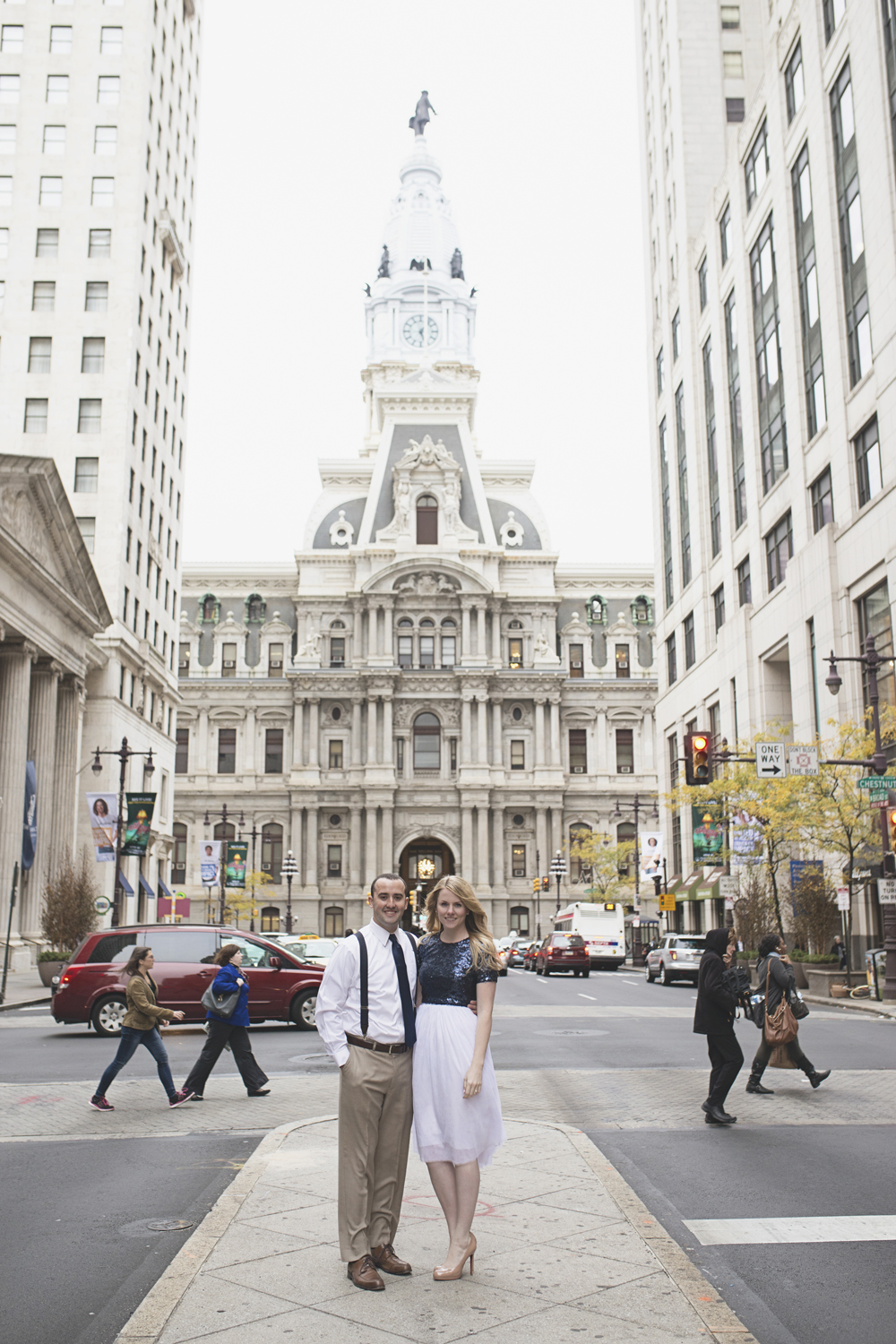 Philadelphia City Hall Engagement Session | Tulle skirt & Christian Louboutin nude red bottom pumps