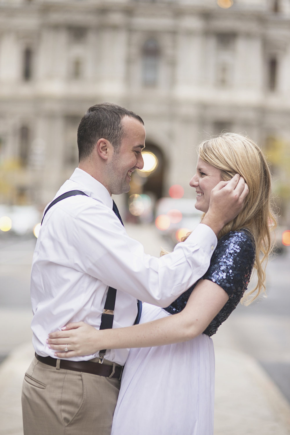 Philadelphia City Hall Engagement Session | White tulle skirt