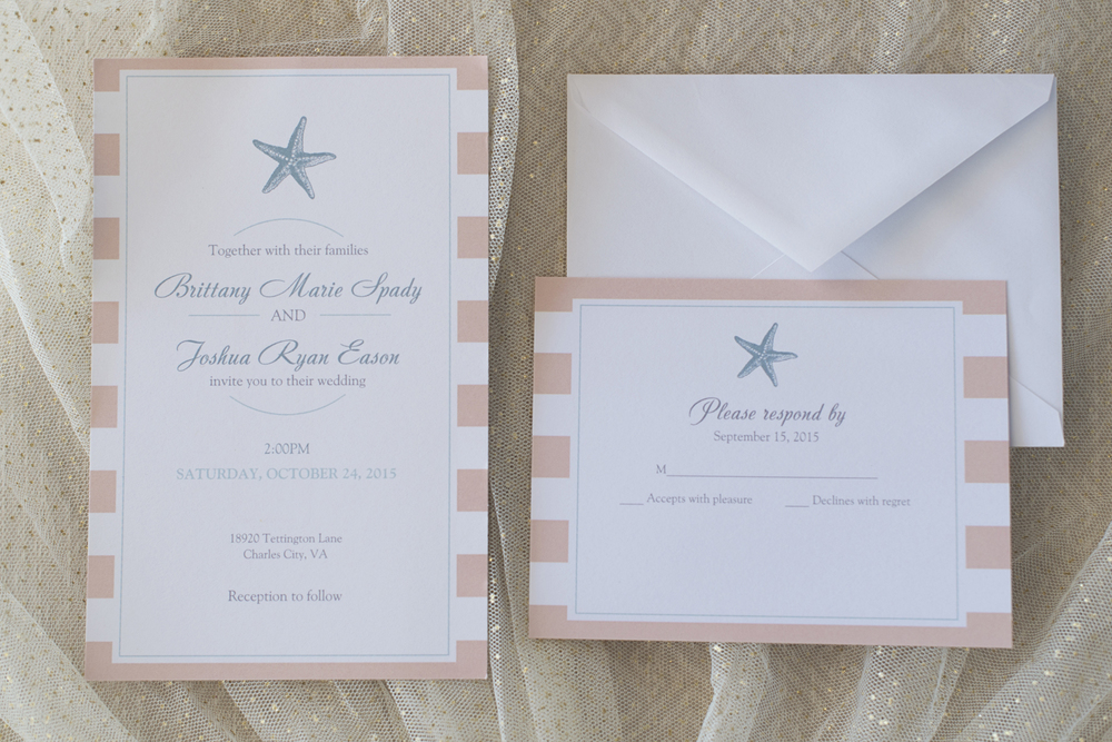 Charles City Wedding | Williamsburg Wedding Photographer | Coral seashell invitations