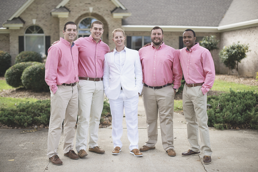 Charles City Wedding | Williamsburg Wedding Photographer | Coral and khaki groomsmen outfit