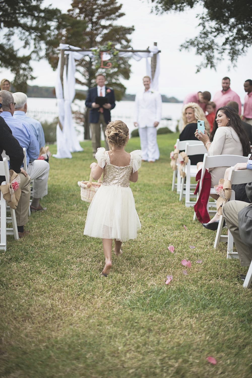Charles City Wedding | Williamsburg Wedding Photographer | Gold flower girl dress