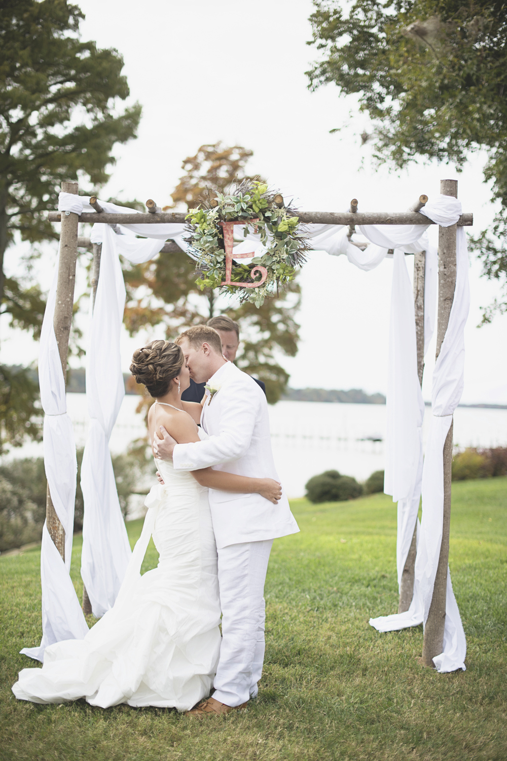 Charles City Wedding | Williamsburg Wedding Photographer | Bride and groom first kiss