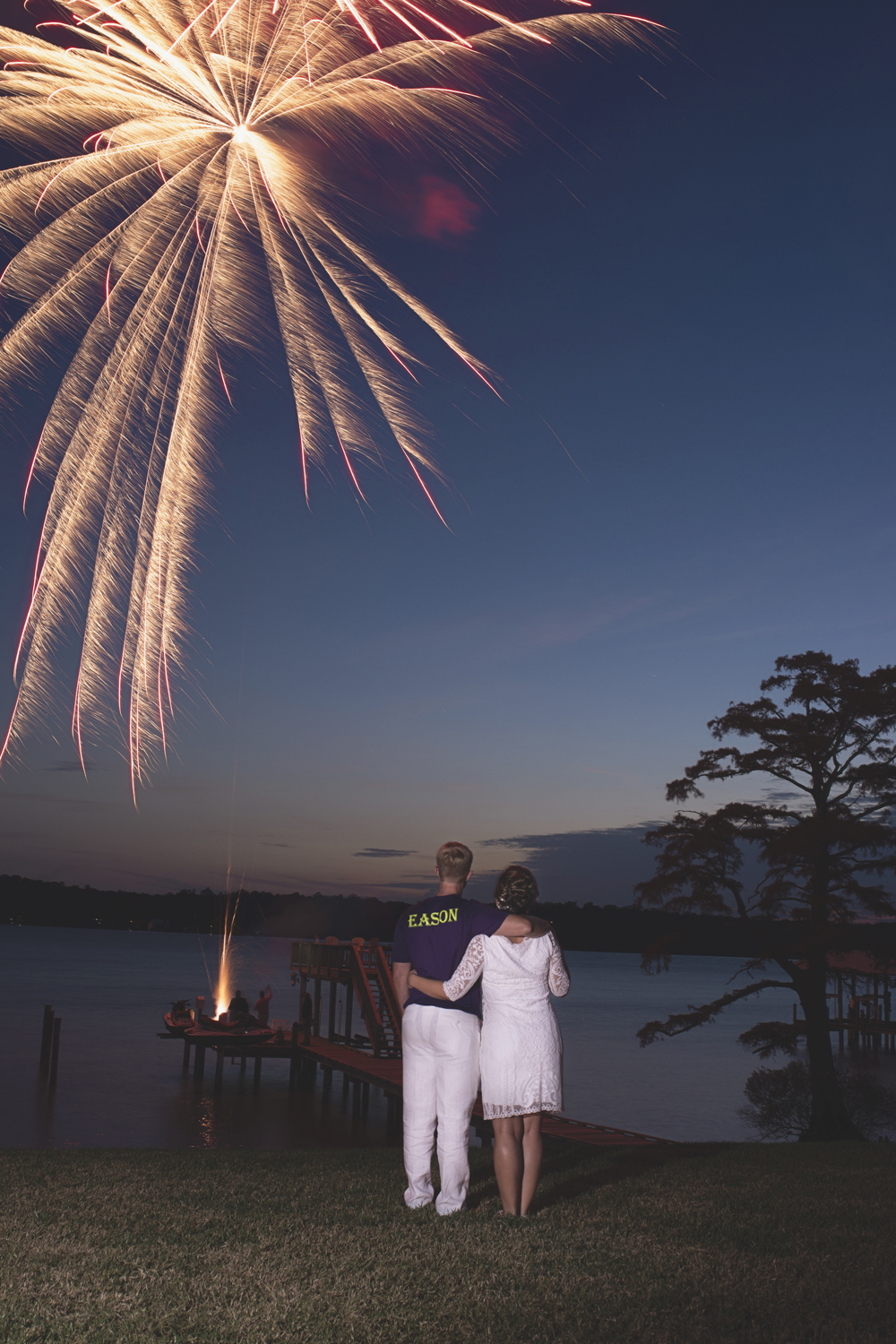 Charles City Wedding | Williamsburg Wedding Photographer | Bride and groom fireworks portraits