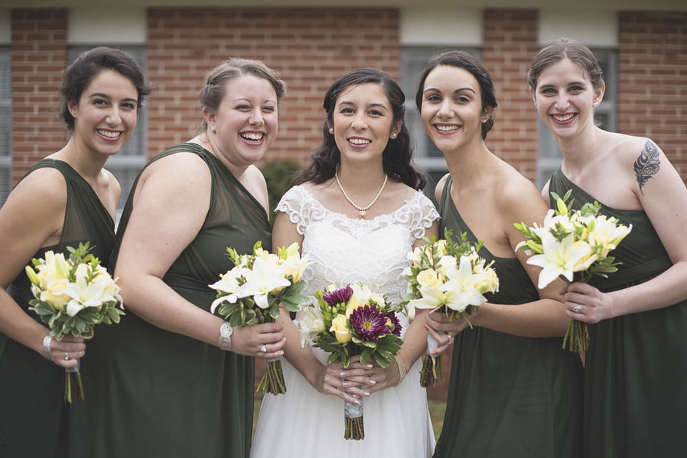 Hampton, Virginia Fall Wedding | Olive bridesmaid dresses