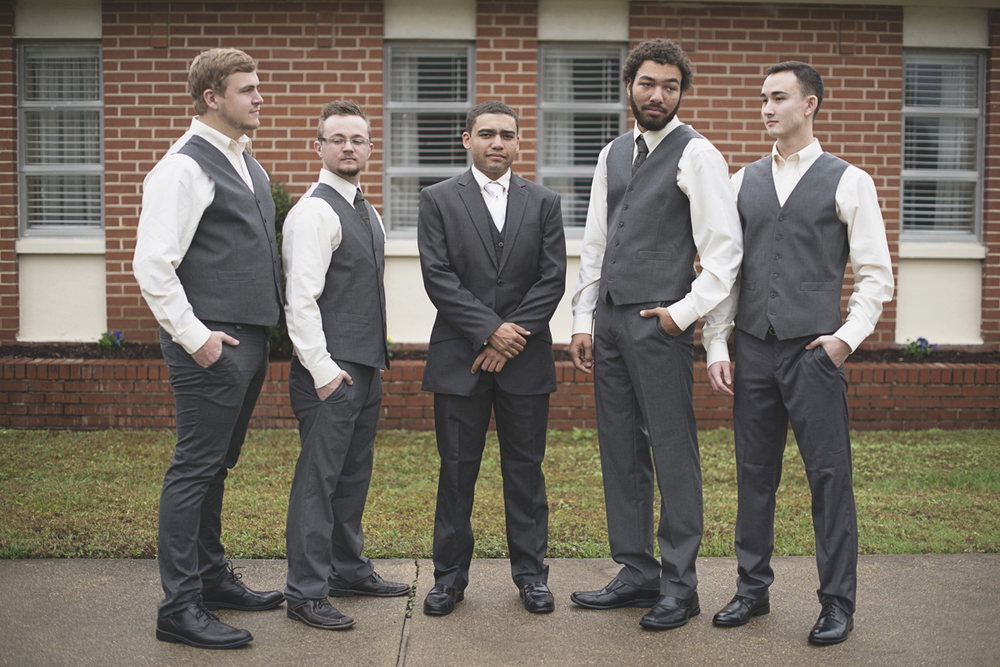 Hampton, Virginia Fall Wedding | Gray groomsment suits