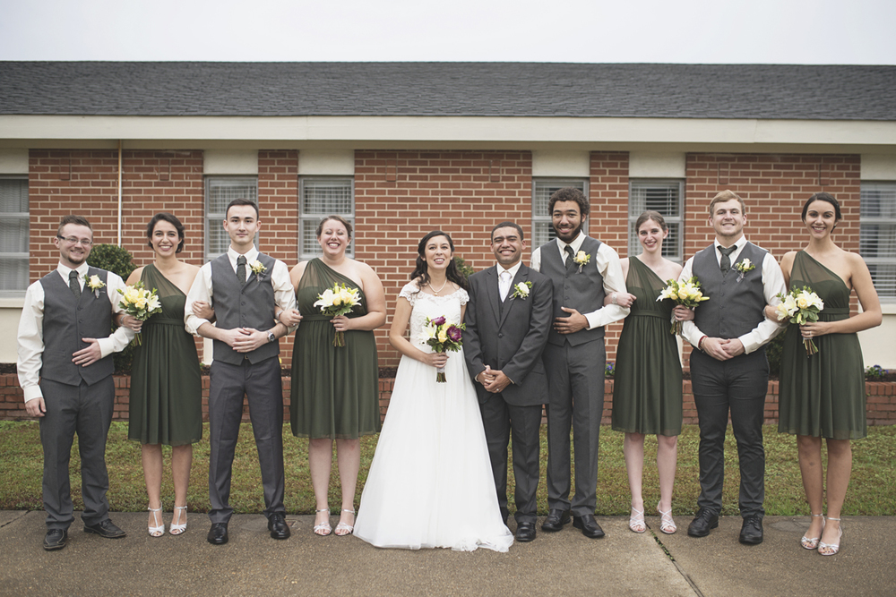Hampton, Virginia Fall Wedding | Olive bridesmaid dresses and gray groomsmen suits