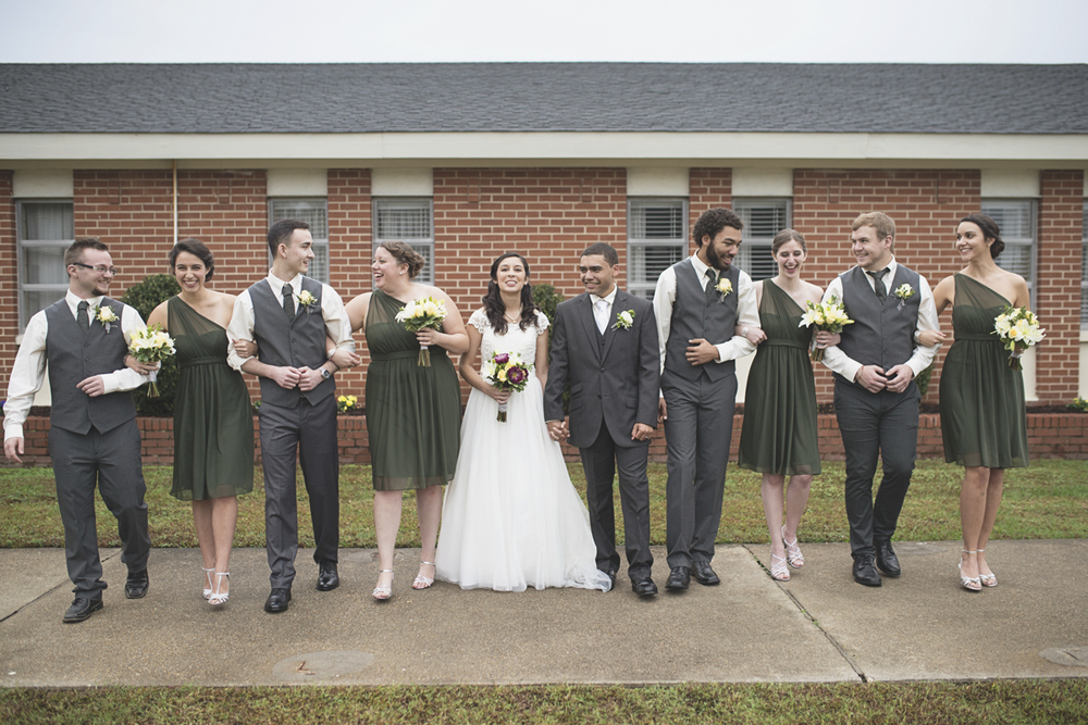 Hampton, Virginia Fall Wedding | Olive green bridesmaid dresses and gray groomsmen attire