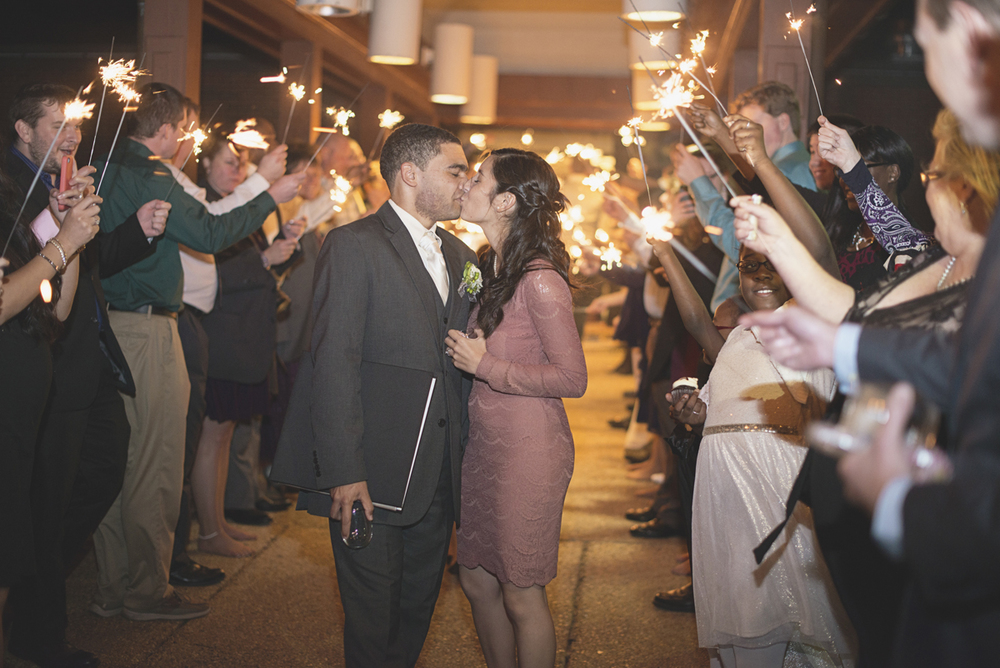 Hampton, Virginia Fall Wedding | Wedding reception sparkler exit