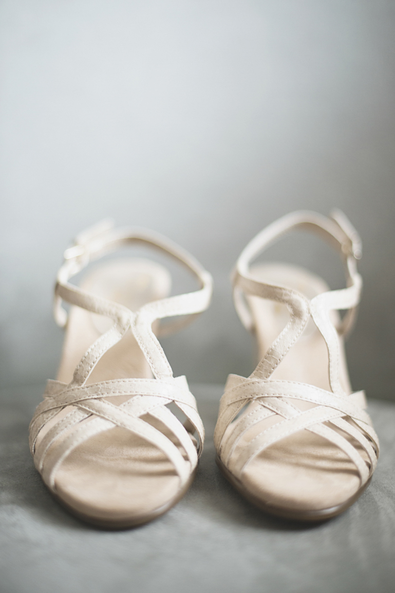Hampton, Virginia Fall Wedding |  White bridal shoes