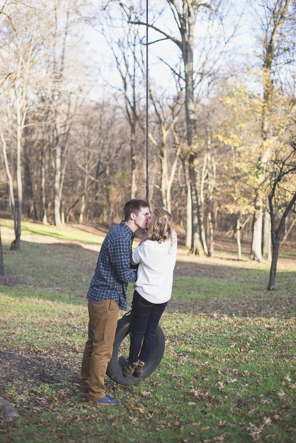 Destination Northern Virginia Engagement Session | Casual J Crew engagement pictures with tire swing