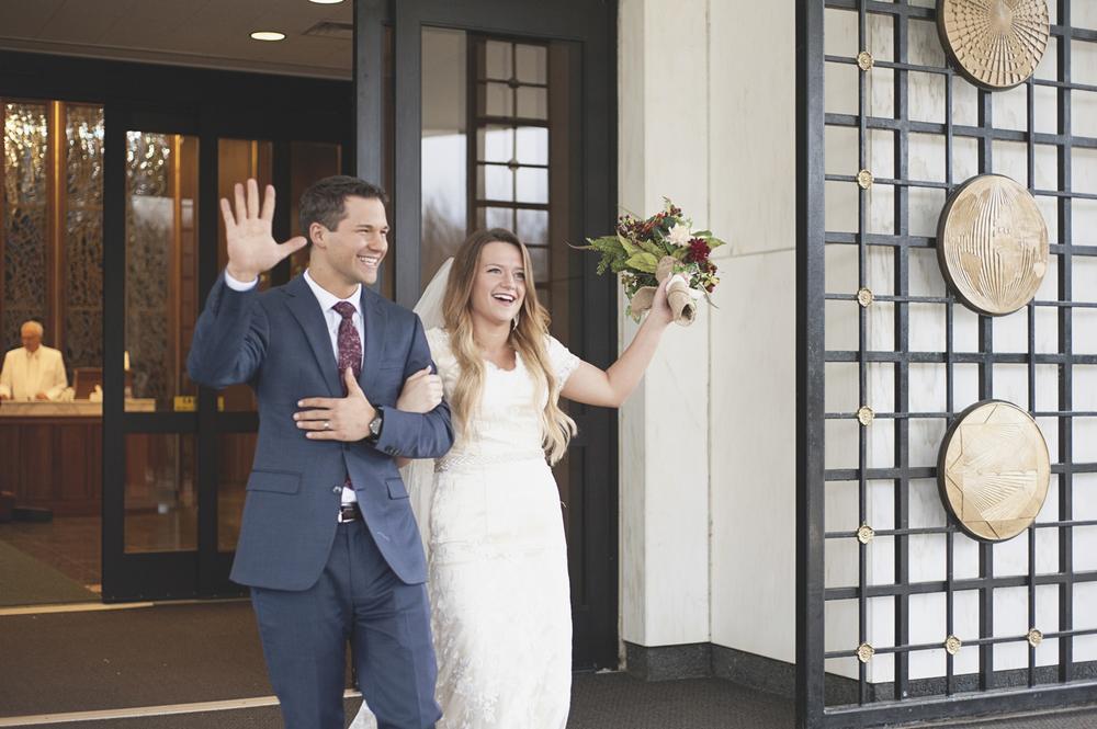 LDS Temple Mormon Winter Wedding | Grand temple exit