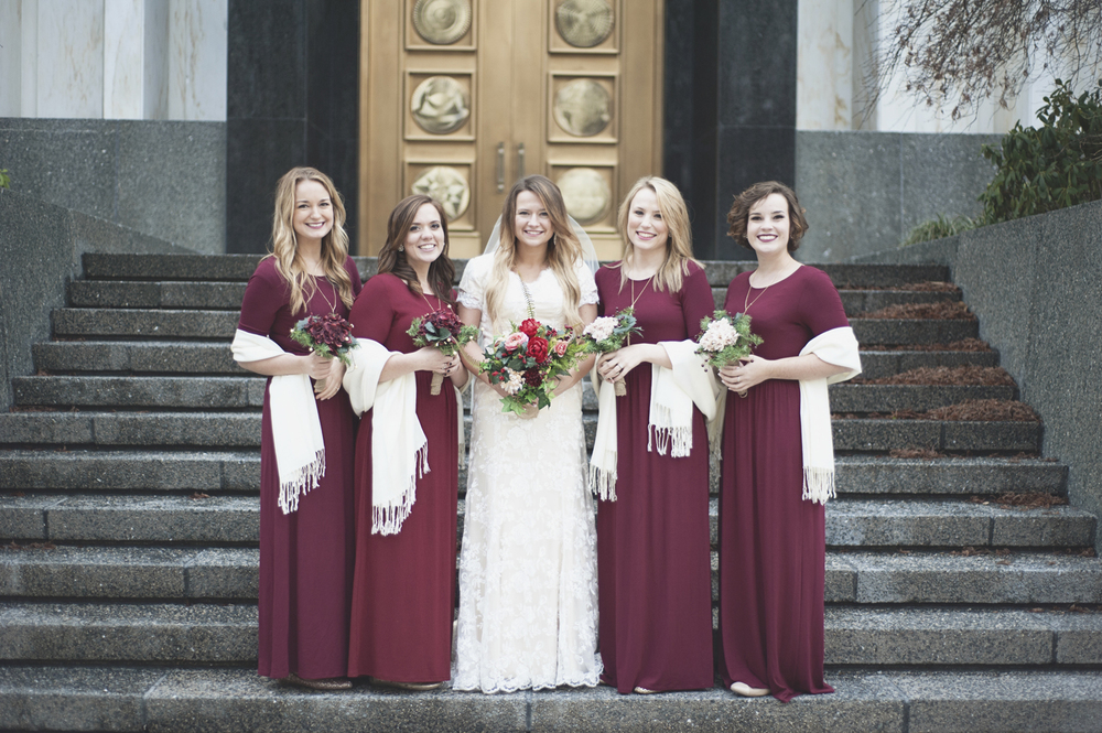 LDS Temple Mormon Winter Wedding | Burgundy and blush wedding
