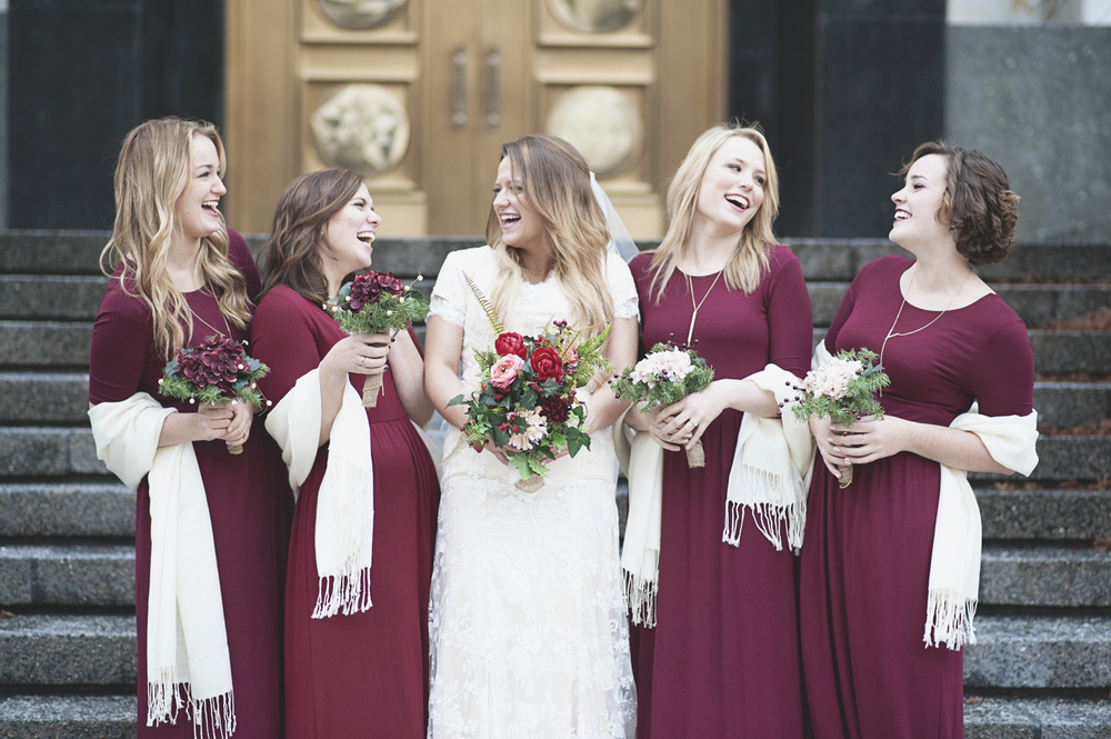 lds temple mormon winter wedding burgundy and blush wedding