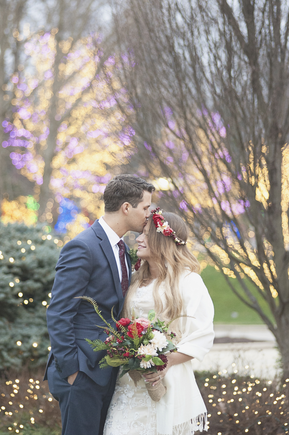LDS Temple Mormon Winter Wedding | Burgundy, red, and blush wedding