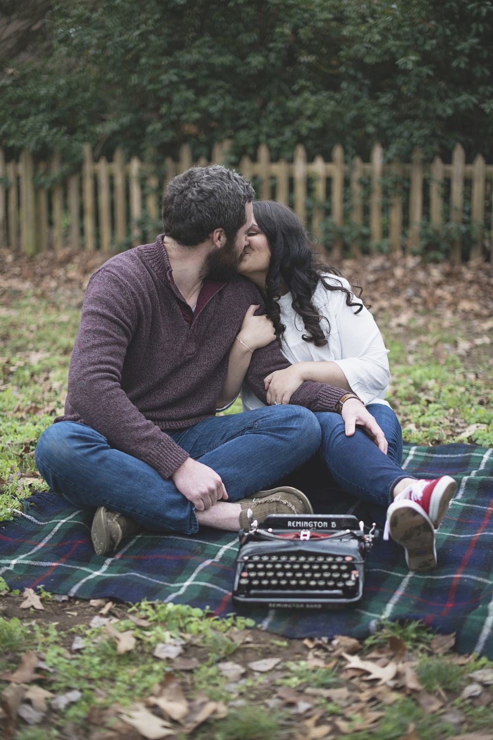 Literary engagement session with book and typewriter props | Virginia Beach