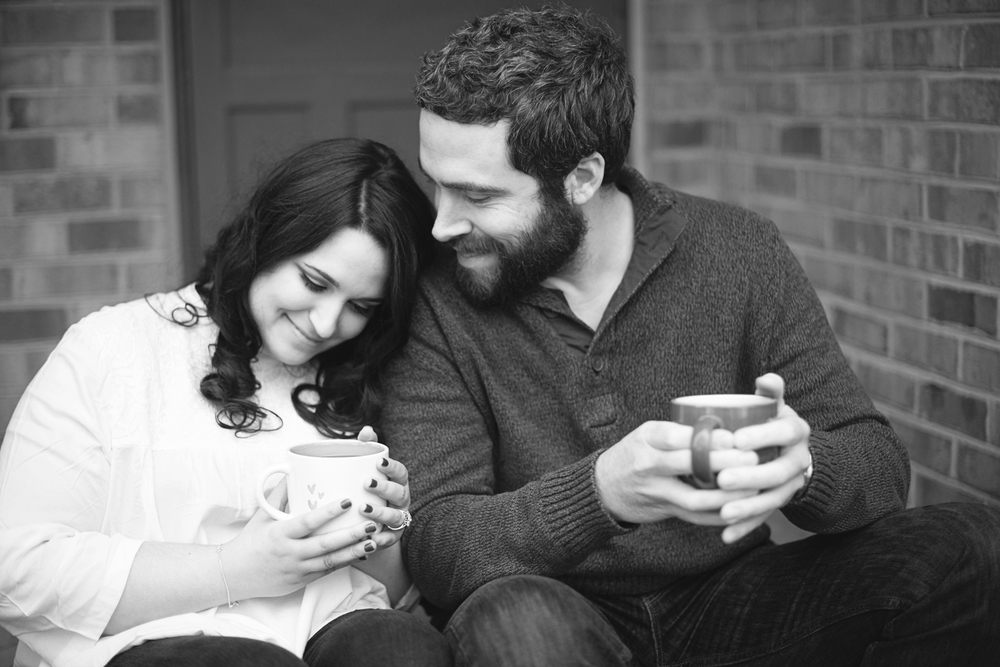 Winter engagement session with Target coffee mugs
