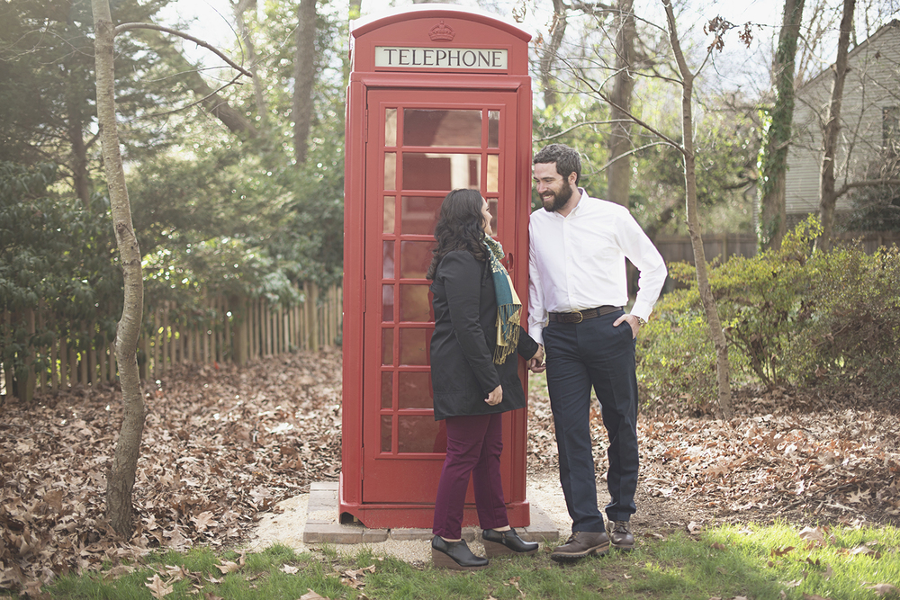 Vintage phone booth engagement session prop