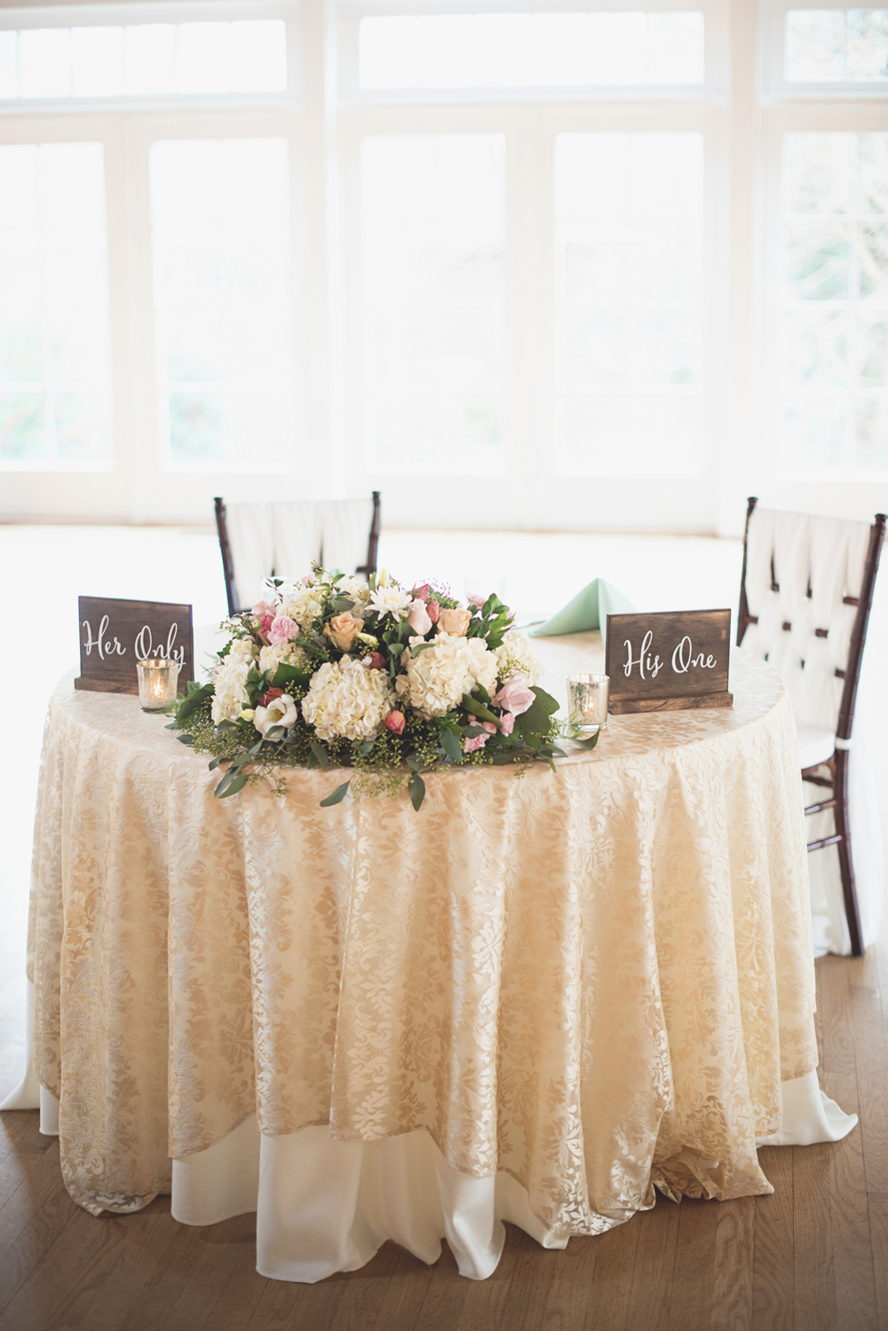 Blush, mint, and ivory spring wedding | His one Her only cute wedding signs