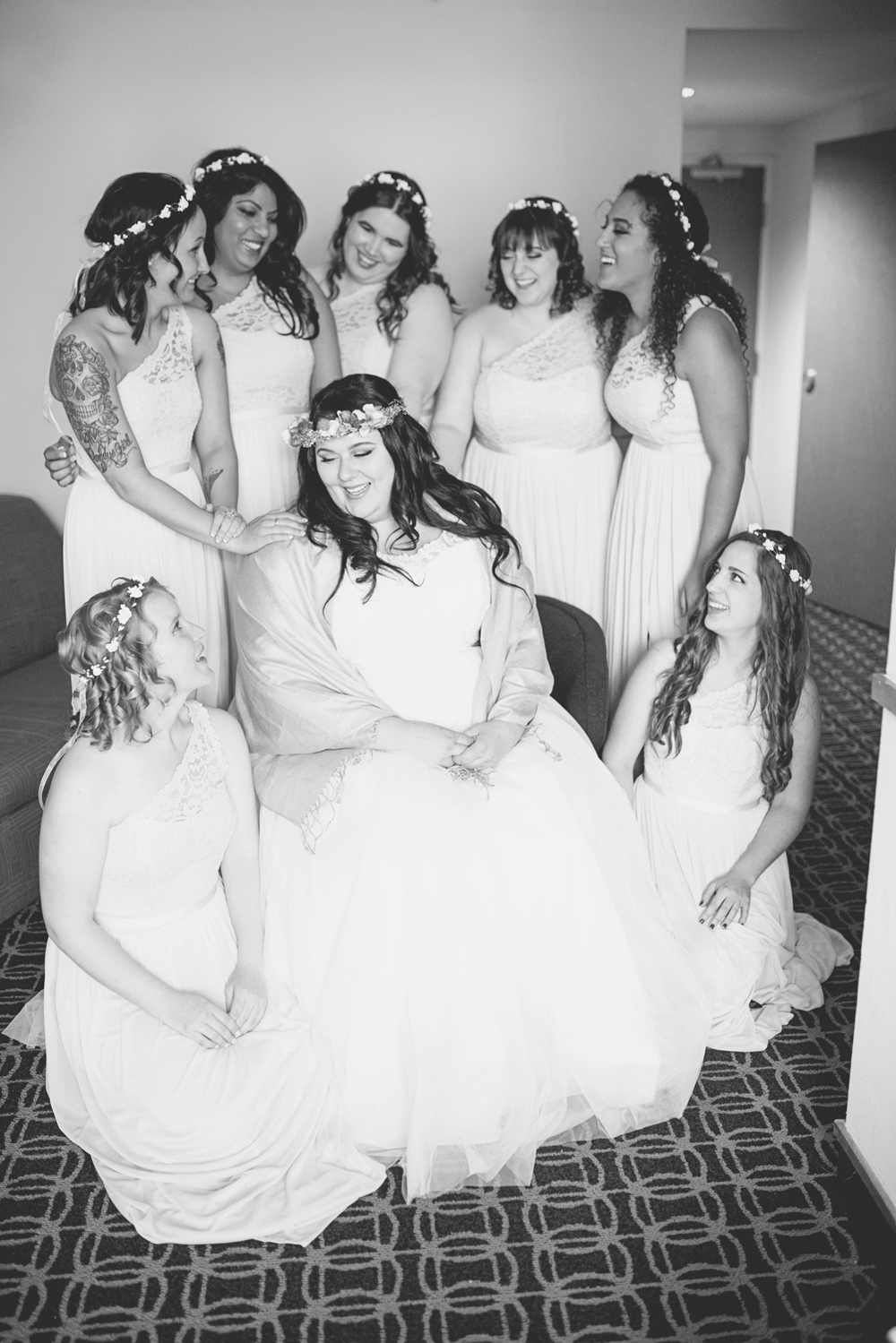 Blush, mint, and gold spring wedding | Yorktown, Virginia wedding | Bridesmaids with bride