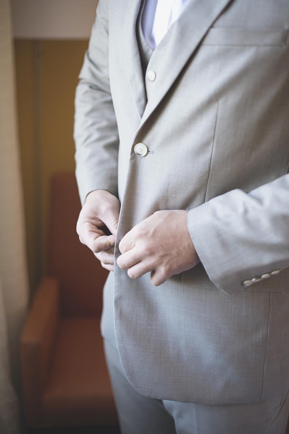 Blush, mint, and gold spring wedding | Yorktown, Virginia wedding | Groom getting ready