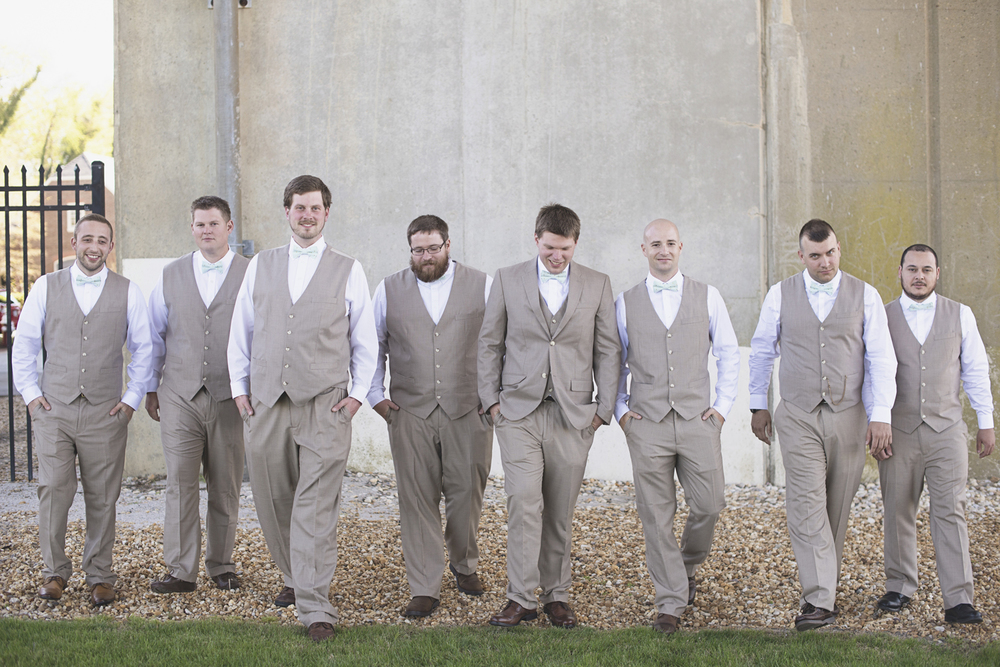 Blush, mint, and gold spring wedding | Yorktown, Virginia wedding | Gray groomsmen suits