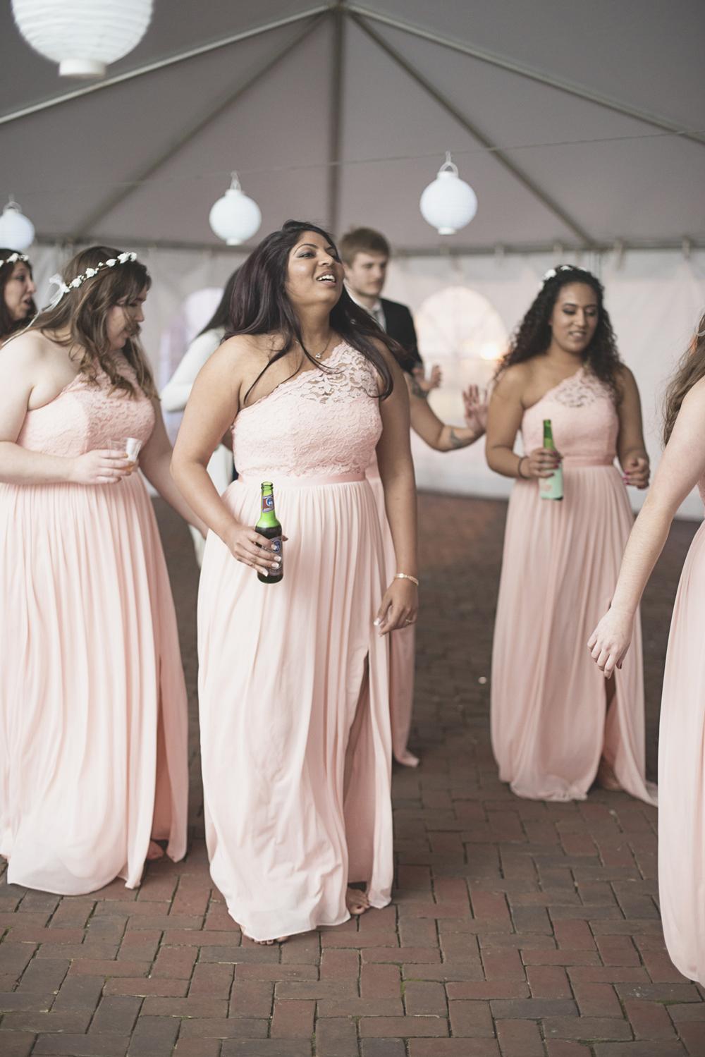 Blush, mint, and gold spring wedding | Yorktown, Virginia wedding | Wedding reception dancing