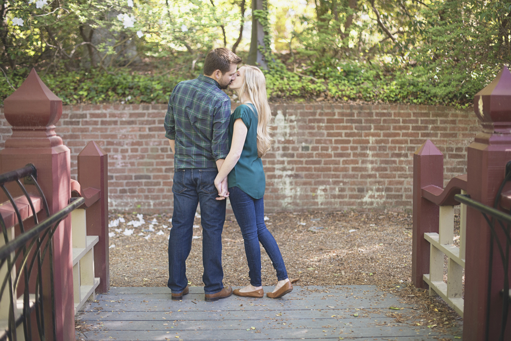 Forest green and jewel tone engagement session | William and Mary Crim Dell Bridge engagement pictures