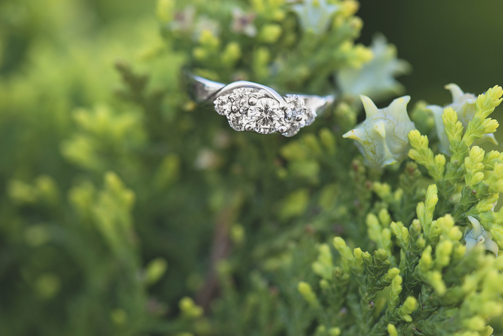 Stunning engagement ring in greenery | Hampton, Virginia