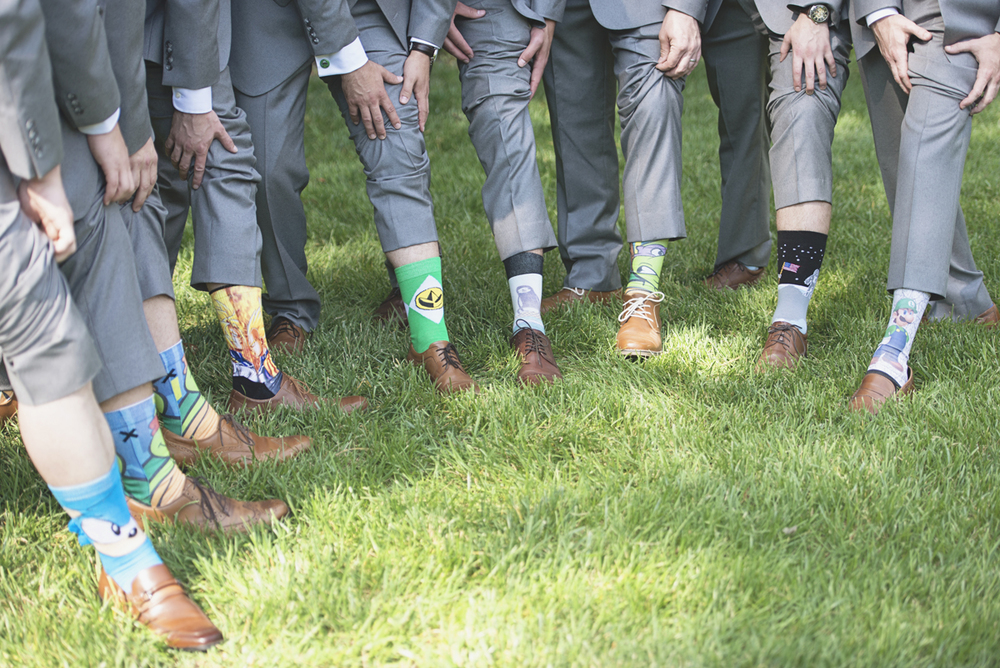 Classic vintage themed wedding | Navy, cream, and gray wedding in Richmond | Power Ranger socks