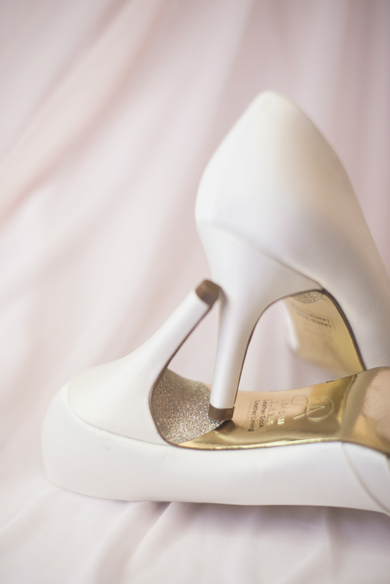 Blush and White Historic Church Wedding | Smithfield, Virginia | White wedding shoes with sparkle