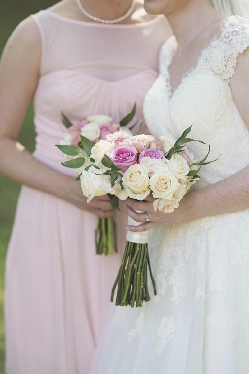 Blush and White Historic Church Wedding | Smithfield, Virginia | Blush bridesmaid bouquet