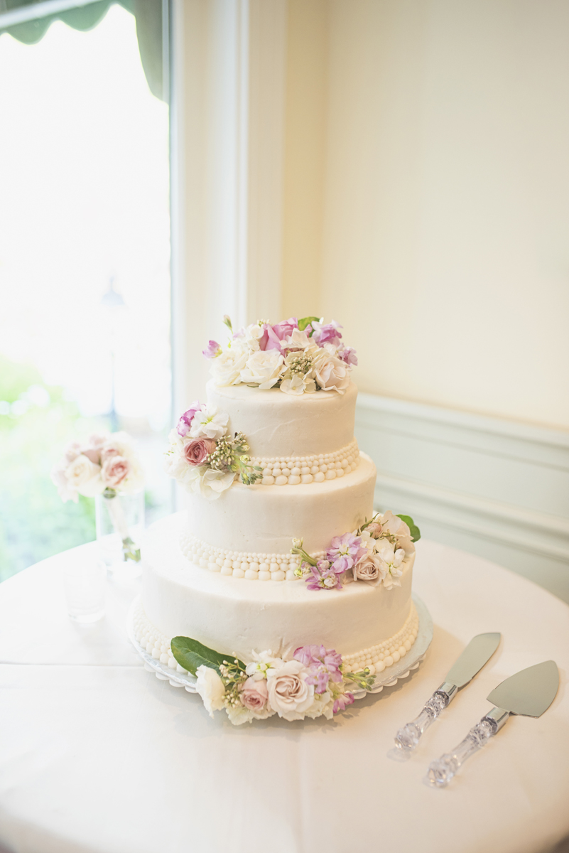 Blush and White Historic Church Wedding | Smithfield, Virginia | Blush and white wedding cake