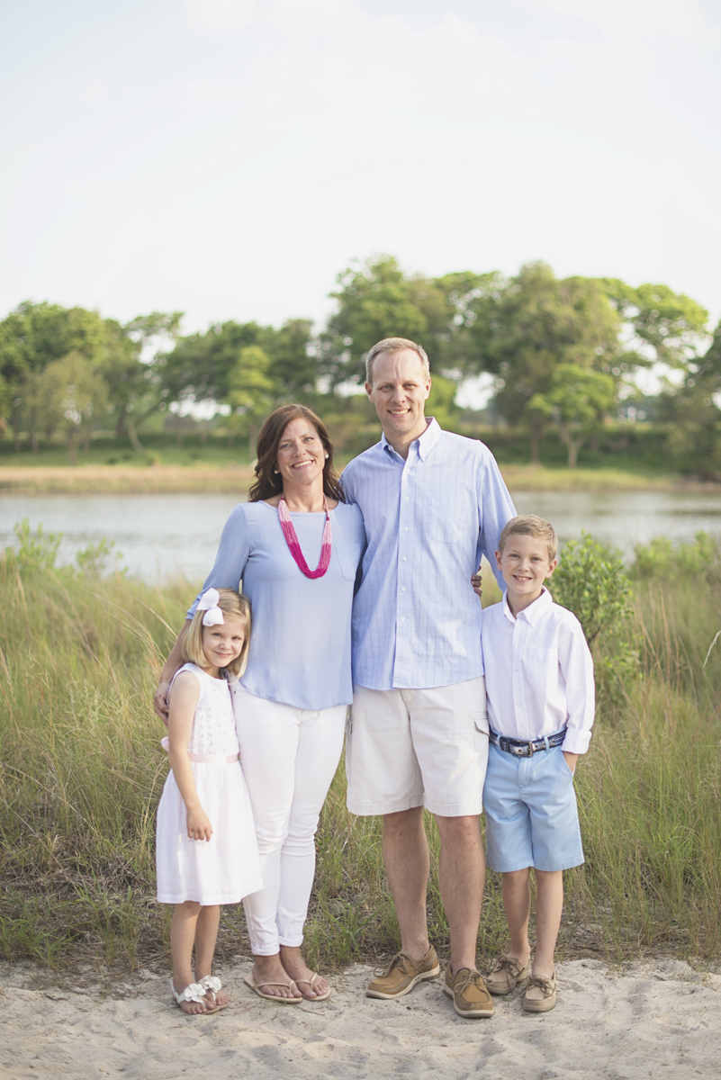 Tall summer grass family pictures blue and white outfit ideas