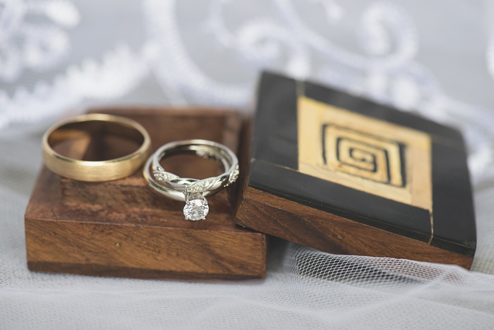 Green, Gold, and White Wedding | Founders Inn Virginia Beach Summer Wedding | Wedding rings in traditional wood ring box