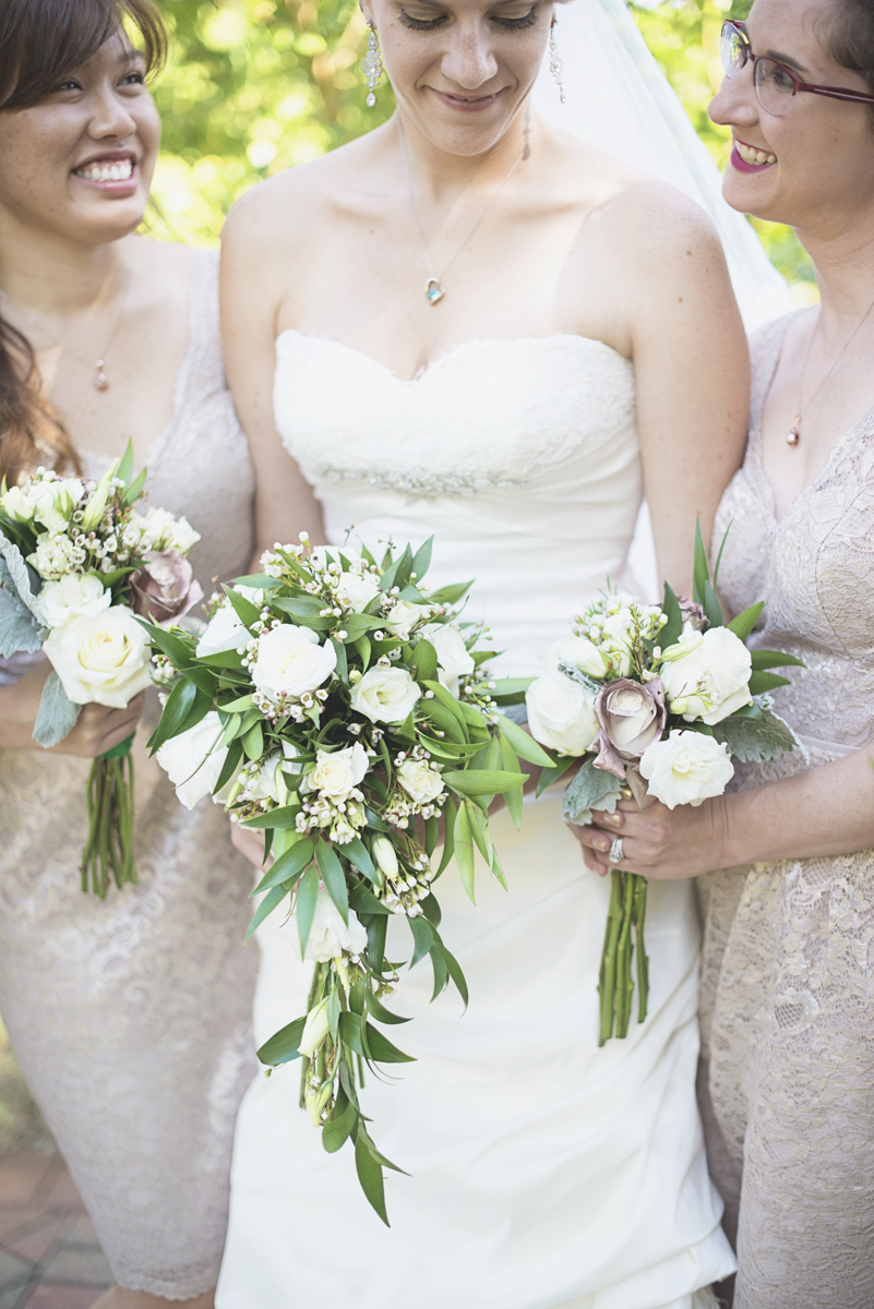 Green, Gold, and White Wedding | Founders Inn Virginia Beach Summer Wedding | Greenery and white rose wedding bouquets