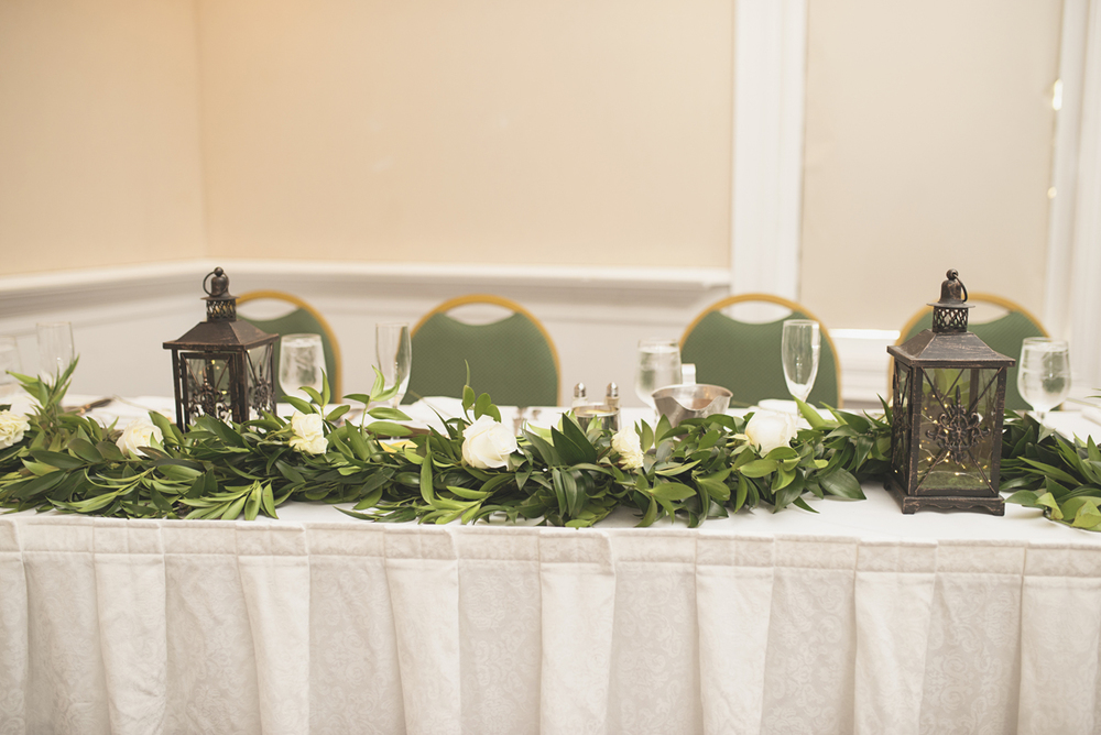 Green, Gold, and White Wedding | Founders Inn Virginia Beach Summer Wedding | Greenery and white rose wedding reception