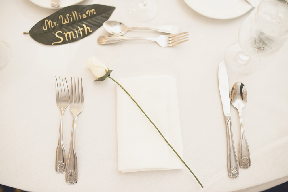 Green, Gold, and White Wedding | Founders Inn Virginia Beach Summer Wedding | Green leaf wedding reception nametags
