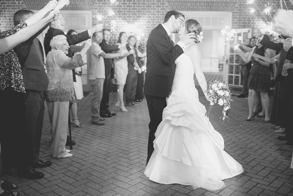 Green, Gold, and White Wedding | Founders Inn Virginia Beach Summer Wedding | Wedding reception sparkler exit