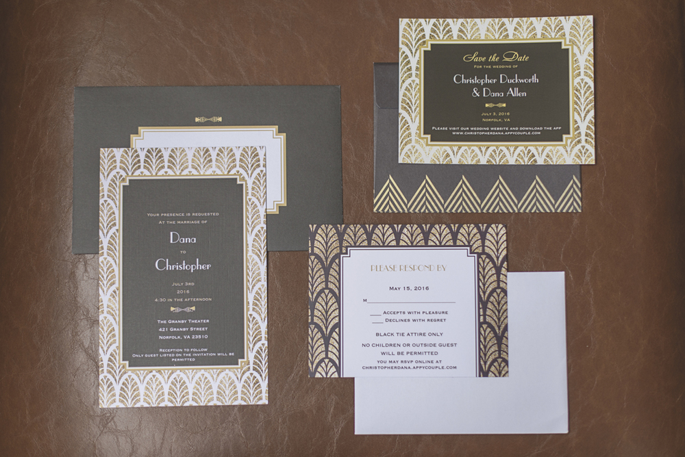 Great Gatsby Themed Urban Wedding | Great Gatsby wedding invitations