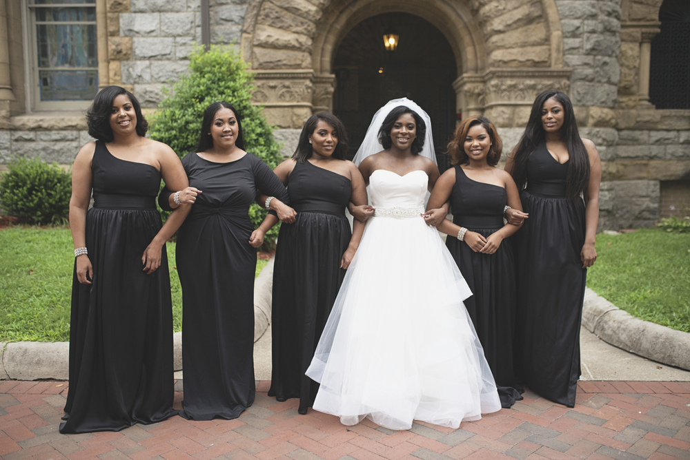 Great Gatsby Themed Urban Wedding | All black bridesmaid dresses