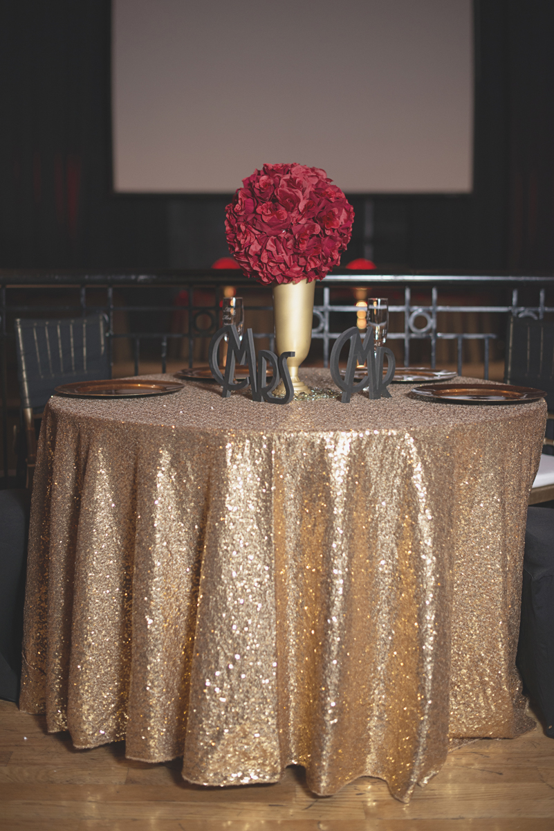 Great Gatsby Themed Urban Wedding | Gold sequined tablecloth