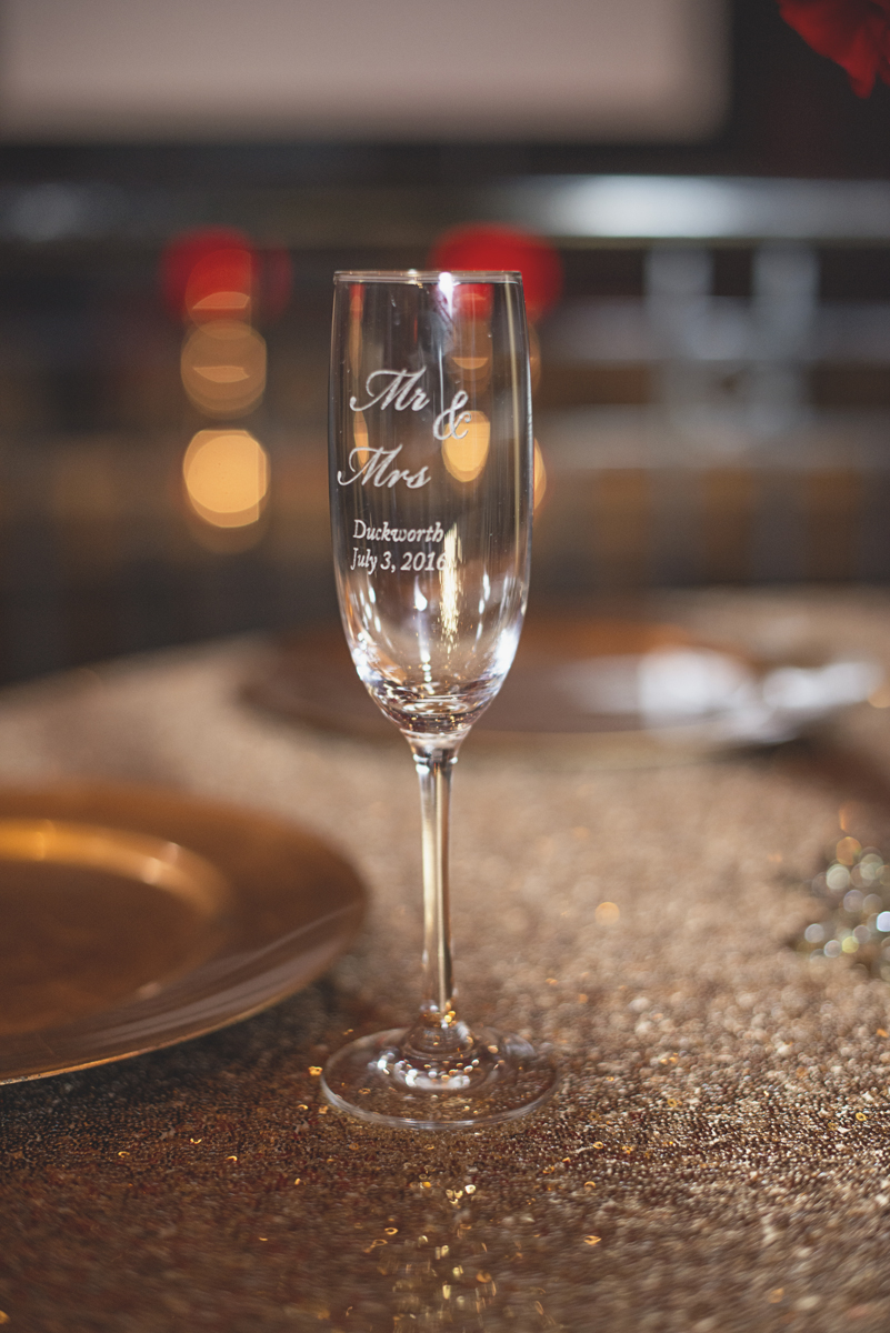 Great Gatsby Themed Urban Wedding | Custom wedding champagne glasses