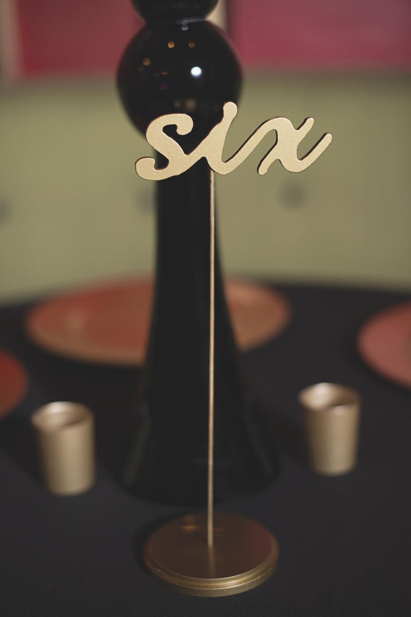 Great Gatsby Themed Urban Wedding | Custom gold reception table numbers