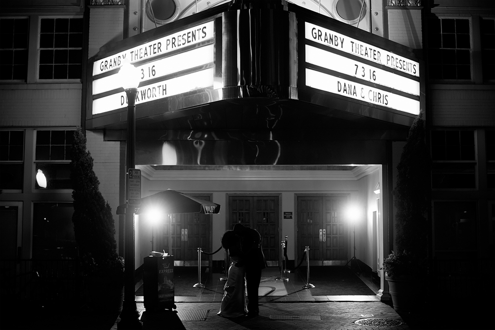 Great Gatsby Themed Urban Wedding | Bride and groom silhouette under theater marquee