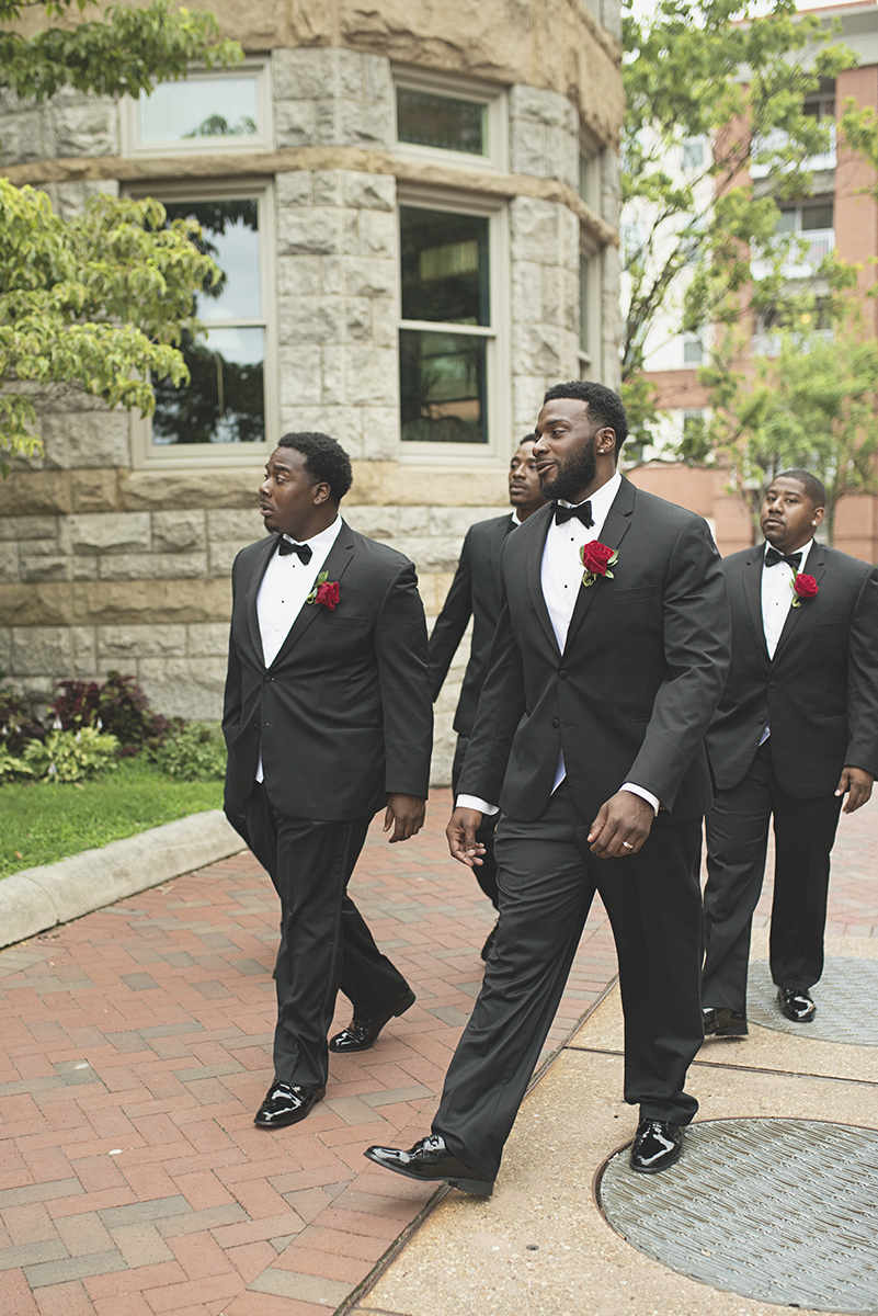 Great Gatsby Themed Urban Wedding | All black groomsmen tuxes
