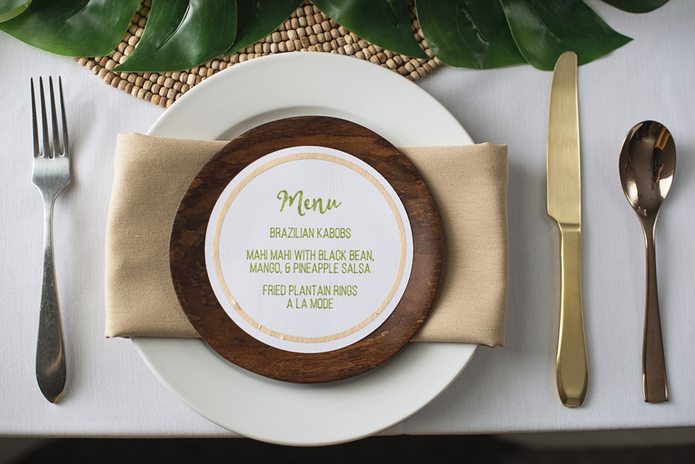 2016 Rio Olympics Styled Shoot | Brazilian menu placecard
