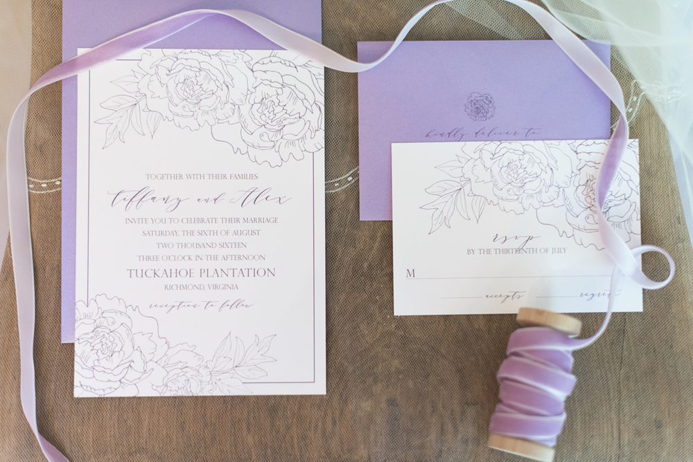 Elegant Lavender Plantation Elopement | Lavender calligraphy invitation suite