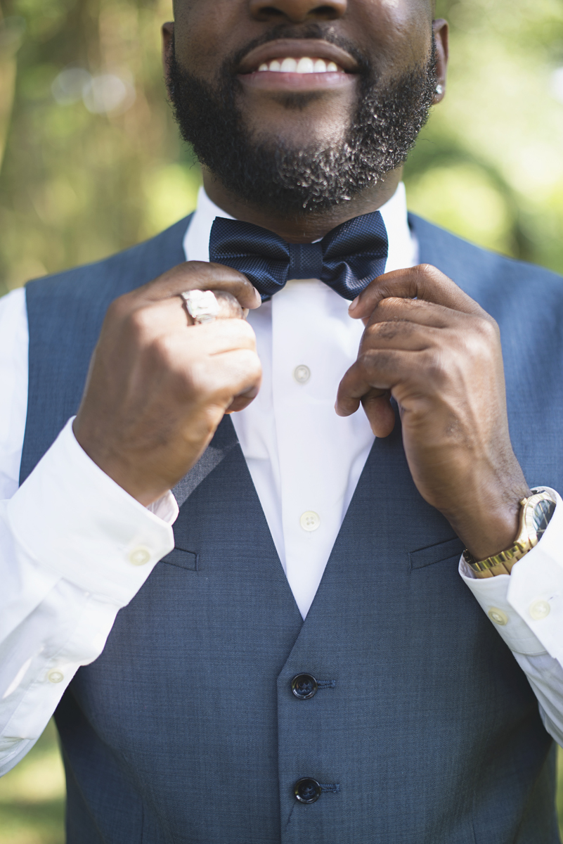 Elegant Lavender Plantation Elopement | Blue gray groom's bowtie