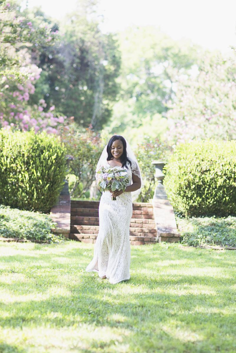 Elegant Lavender Plantation Elopement | Bride walking into wedding ceremony