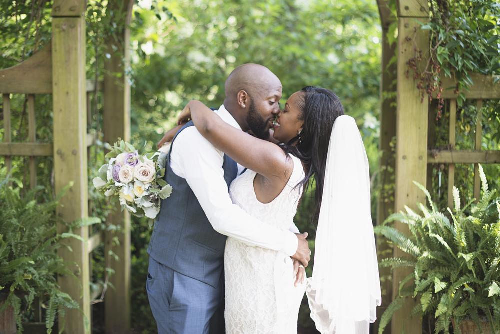 Elegant Lavender Plantation Elopement | Wedding ceremony first kiss